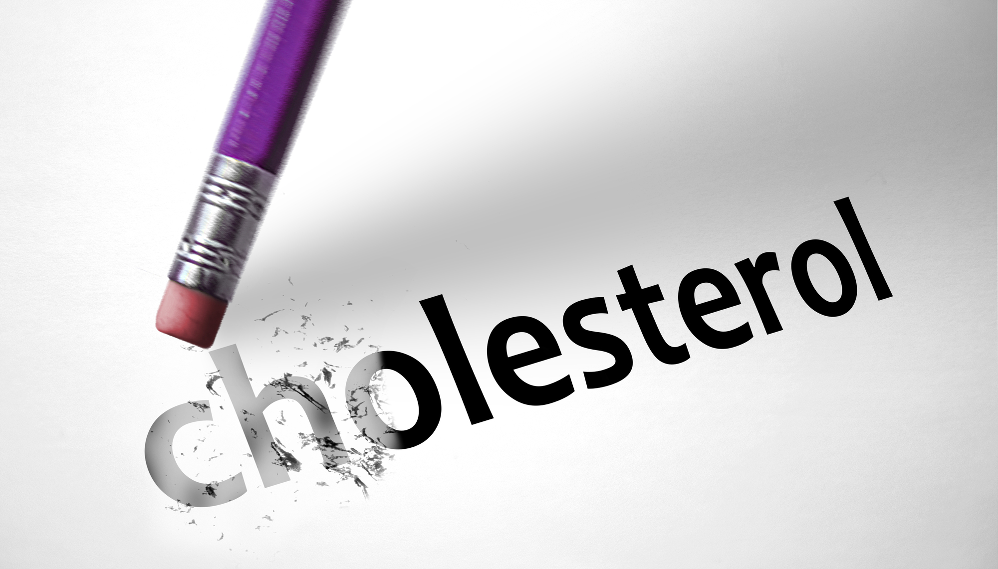 Eraser deleting the word Cholesterol